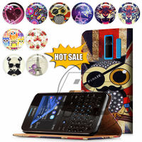 For Nokia Asha 205 High Quality Print Card Holder Flip PU Folio Wallet Leather Case Cover Moible Phone Csae