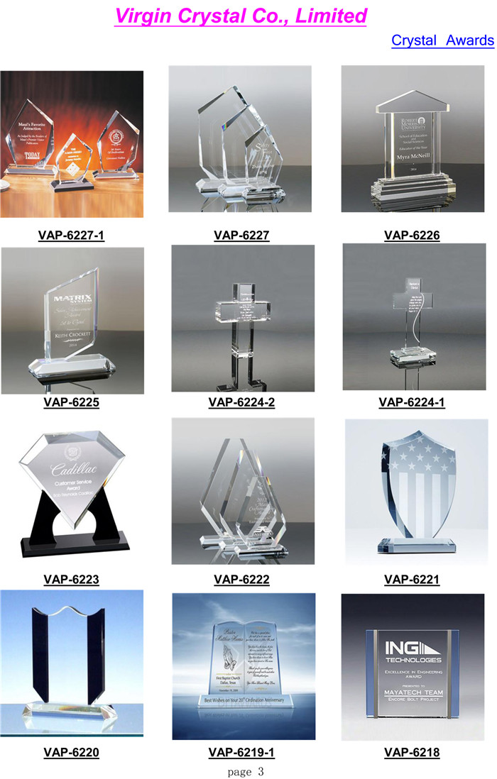 China YIWU Factory Top Quality Clear Optical Crystal Block Awards Plaque For Corporate Awards