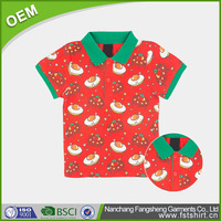 Kid's printed red cotton short sleeve polo shirts