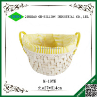 High quality small straw basket weaving with handles for easter