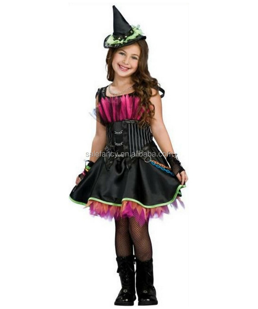 Halloween kids costume rockin out witch costume QHGC-0061