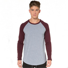 Long sleeve full hand deep red and grey full hand contrast color joint full hand t shirts