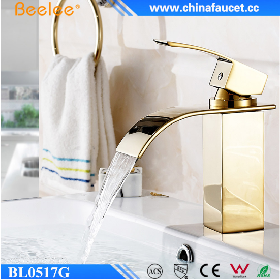 Beelee Polished Gold Brass Bathroom Luxurious Waterfall Basin Faucet