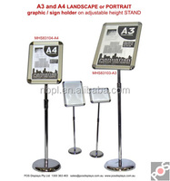 adjustbale height stand A3 and A4 landscape, portrait, graphic, sign holder, telescopic menu board stand, poster board stand