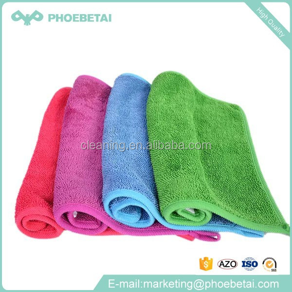 Factory supply cambodia microfiber cleaning cloth colorful SATIN label CLOTH for home