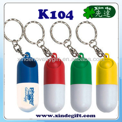 Capsule shaped Pill case, Pill holder, Medicine Drug Tablet holder key chain key holder