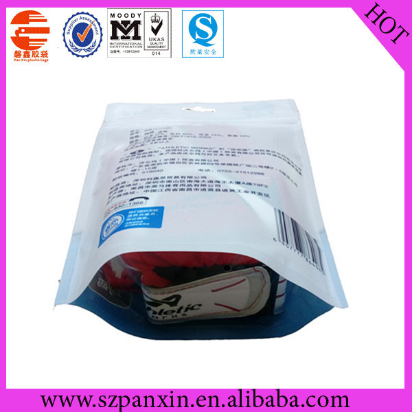 zipper sealed transparent plastic packaging bag with bottom gusset for gloves
