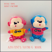 cute plush monkey pink and blue with t-shirt