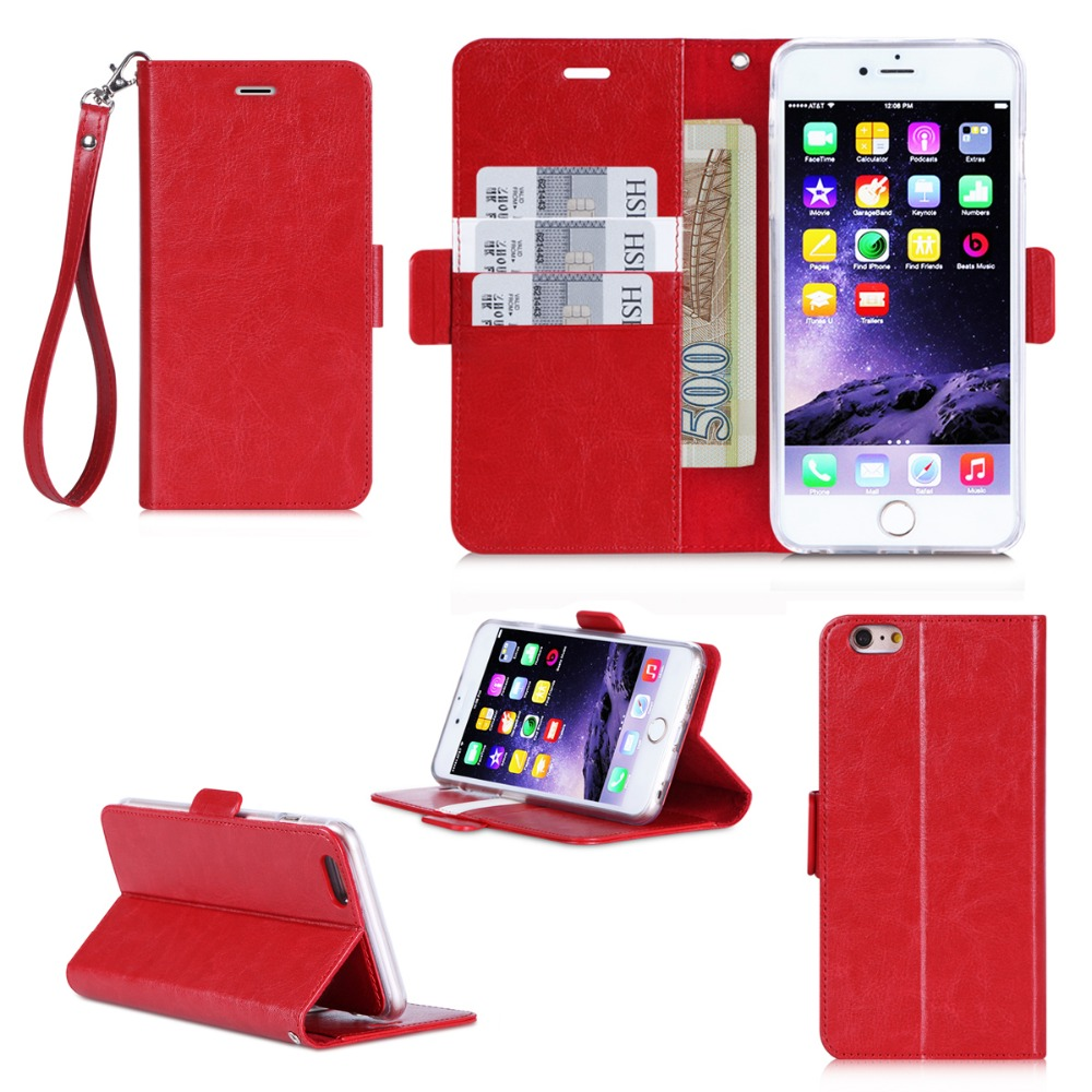 Factory Wholesale Heavy Duty Good Touching Feeling Folio Leather Wallet Smart Case With strap for iPhone 6 Plus