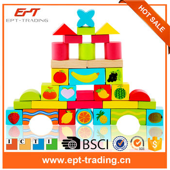 Lovely colour fruit design education wooden blocks toy baby blocks for sale