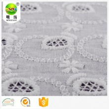 High quality white textile material lace design cotton embroidery fabric