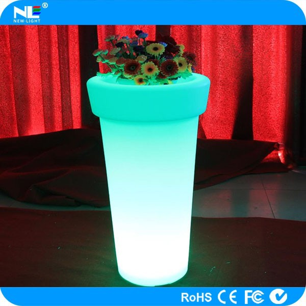 Waterproof round LED flower pot / plastic illuminated LED light flower pot / LED flower vase light