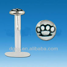 Flexible white brass knuckles logo labret piercing