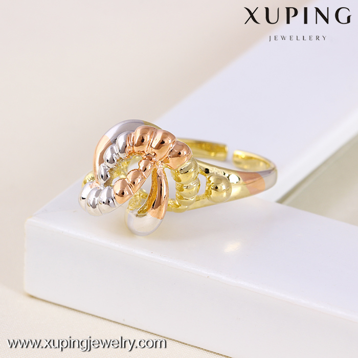 11381 Funny Gold Plated Fake Engagement Multicolor Rings