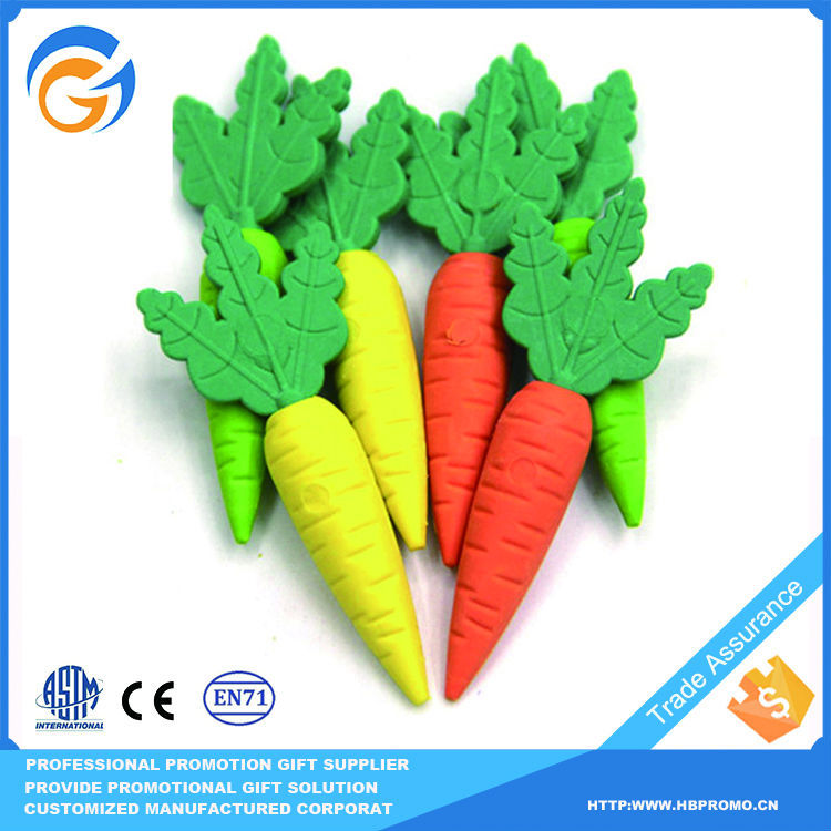 Colored Carrot Shaped Chinese Erases Eraser