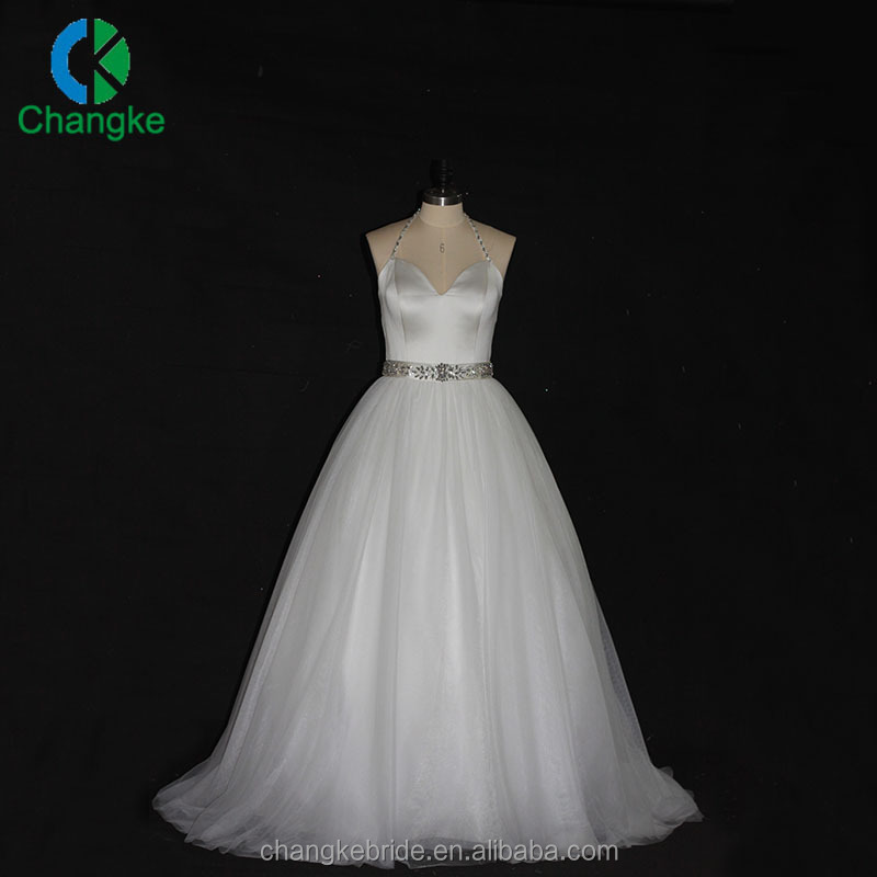 High Quality Custom Halter Tulle Beaded Wedding Dress 2017 Bridal Gowns