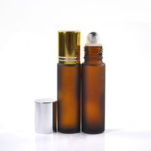 4ml 6ml 8ml 10ml amber frosted cosmetic empty glass perfume roll on bottle with stainless steel metal