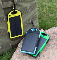 5000mAh Waterproof Solar Power Charger 2 USB Bank Battery For Phone Portable Hot