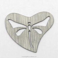 cool customized 22mm heart stainless steel hollowed-out dragonfly locket charms plate