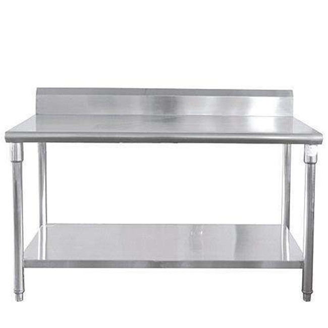 Double Stainless Steel Work Table with Competit Best Quality Knocked-Down Stainless Steel Kitchen Equipment Two Tiers Work Table