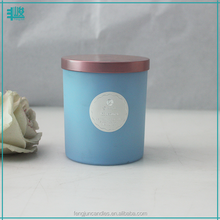 FJ-GB006AT blue color scented glass candle jar with lid