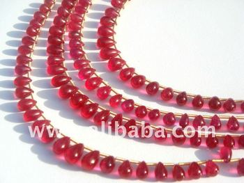Ruby (Lead-Filled) Smooth Drops Precious Gemstone Beads and Briolettes