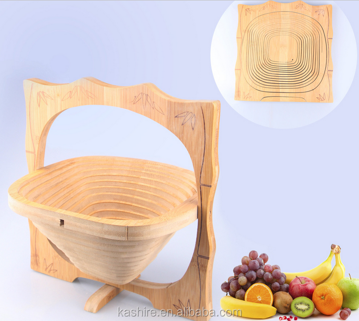 Wooden creative folding fruit basket in a variety of styles