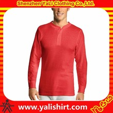 Custom brand quality cheap button neck red 100%cotton long sleeve wholesale thermal under wear
