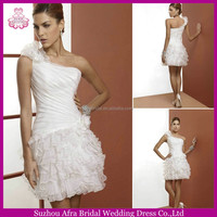 SD1193 one shoulder layered organza mini wedding dress sexy short country wedding dresses
