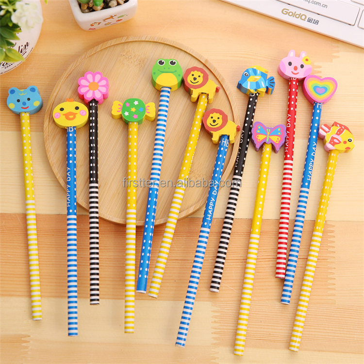 Color Wooden Pencil With Eraser Wholesale Custom