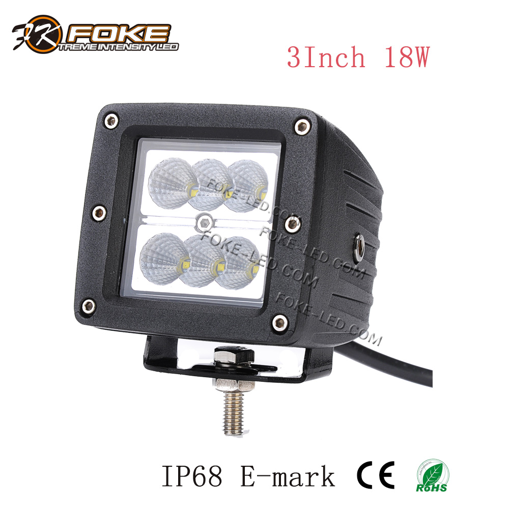 3 inch 18w led work light flush mounted led work lamp waterproof for truck tractor heavy duty