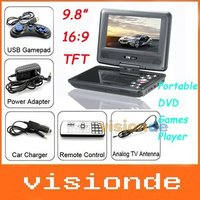 "Free Shipping 9.8"" Portable DVD Player with TV USB Card Reader Games FM Radio Swivel LCD & VGA Dropshipping +Wholesale"