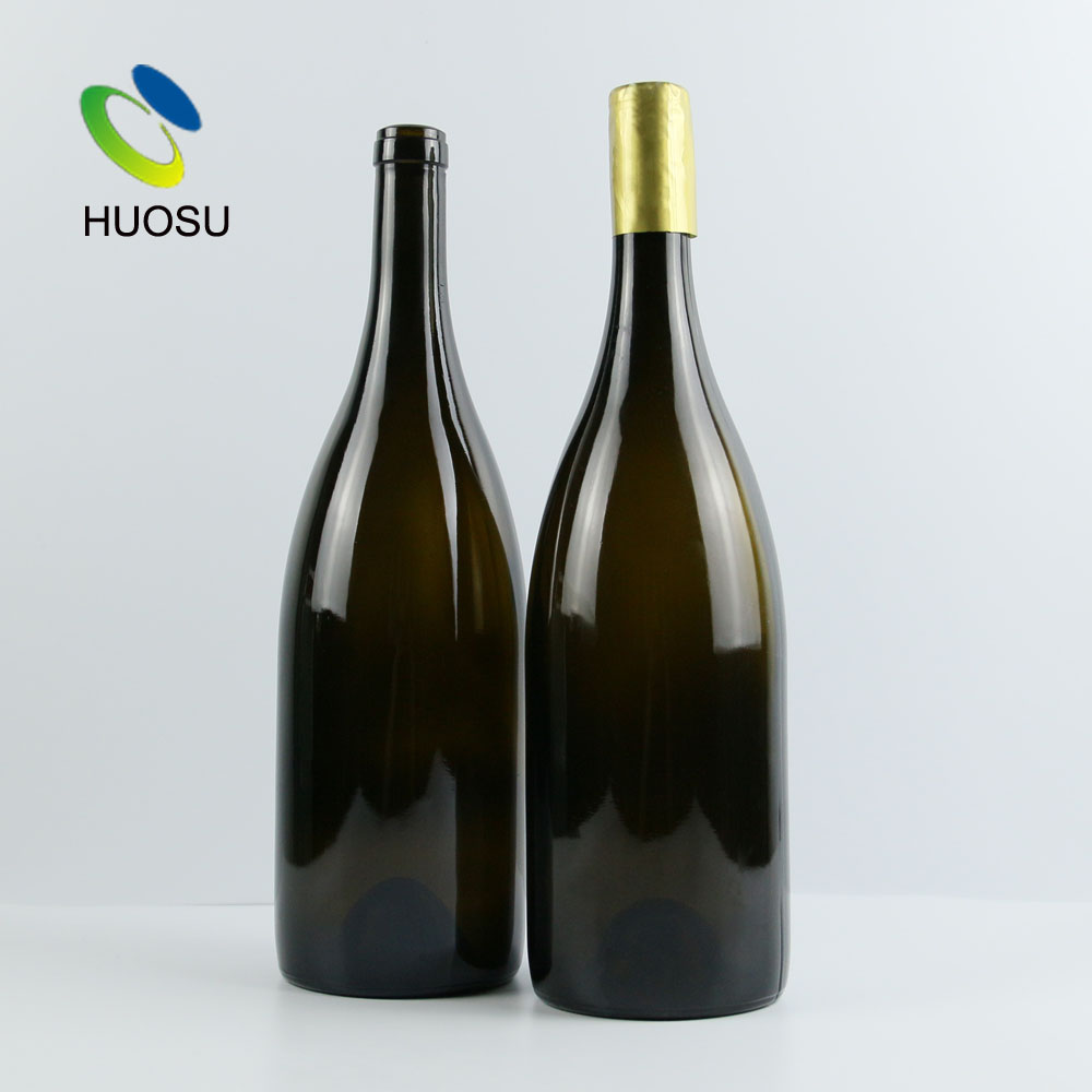 Champagne sparkling glass wine bottle China factory 750ml 1000ml 1.5l perfect sized clear green with lid