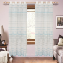 Yarn Dyed Blue Striped Linen Look Sheer Curtain For Window