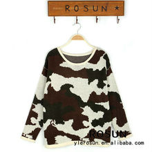 Stylish design army colothing ladies crew neck knitted pullover military sweater