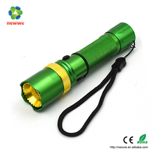 3W LED Flashlight Adjustable Focus Zoomable AL Torch Green color police flashlight led torch tactical flashlight