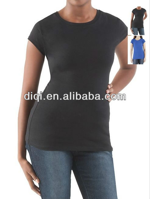 Guangzhou manufacturer 2015 wholesale consise black blue t-shirt low moq lady wear female clothing