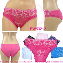 2014 soft cotton fabric women panties with lace for wholesale front full lace back cotton panties for women low price panties