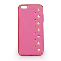 2015 Fashion stylish cell phone leather cover with pyramid stud