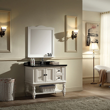39 inch 2-door vanity cabinet, ivory white with mirror, black marble free-standing No.1621