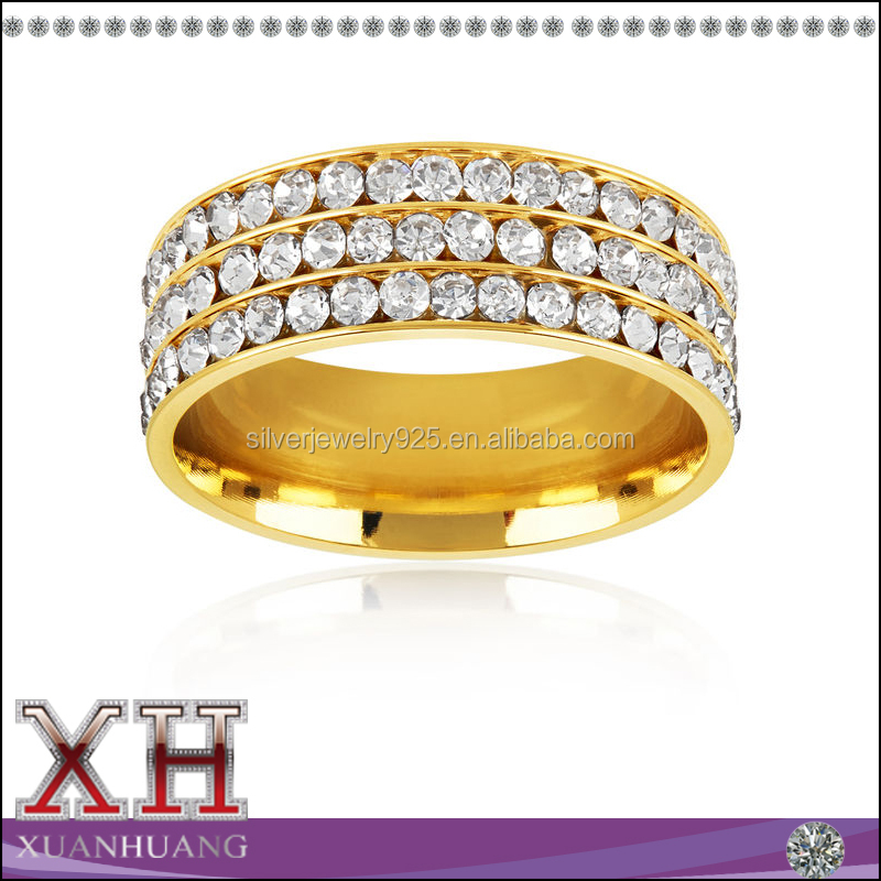 Men's Triple Eternity Crystal Gold Plated Sterling Silver Comfort Band Ring
