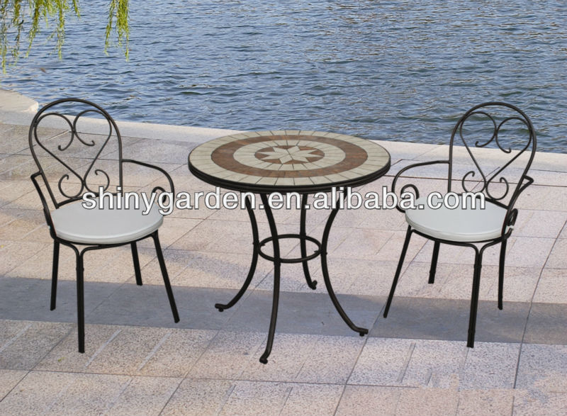 Mosaïque table chaises pliantes en métal, extérieure patio bistro ...