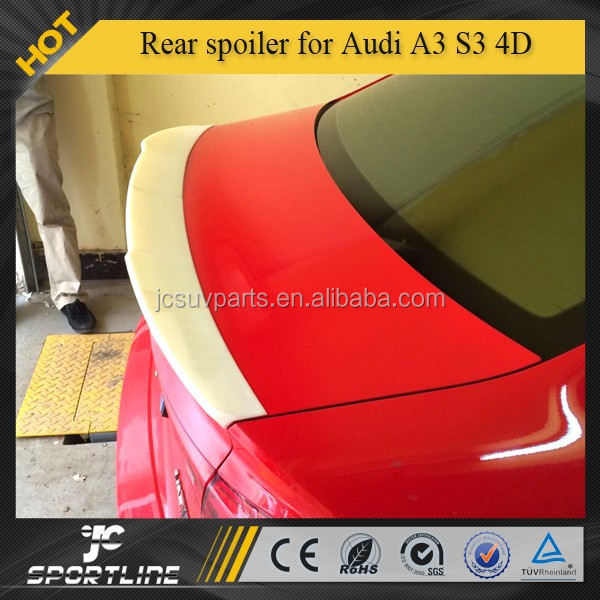Fiber glass grey primmer unpainted rear spoiler wing for Audi A3 S3 4D 2014up