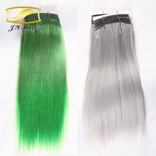 gray hair weave Synthetic hair extensions gray Ombre color noble gold synthetic hair