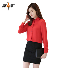 Fashion Elegant School Style turn-down collar ladies long sleeve blouse latest shirt designs for women