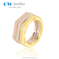 Fashion Cheap Silver Rings With Diamond CZ Gold Plated Jewelry