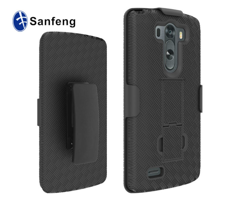 Shell Holster Combo for LG G3 Rugged case - Dual Layer Protective Case for LG G3 with Kick-Stand Belt Clip Holster [Black]