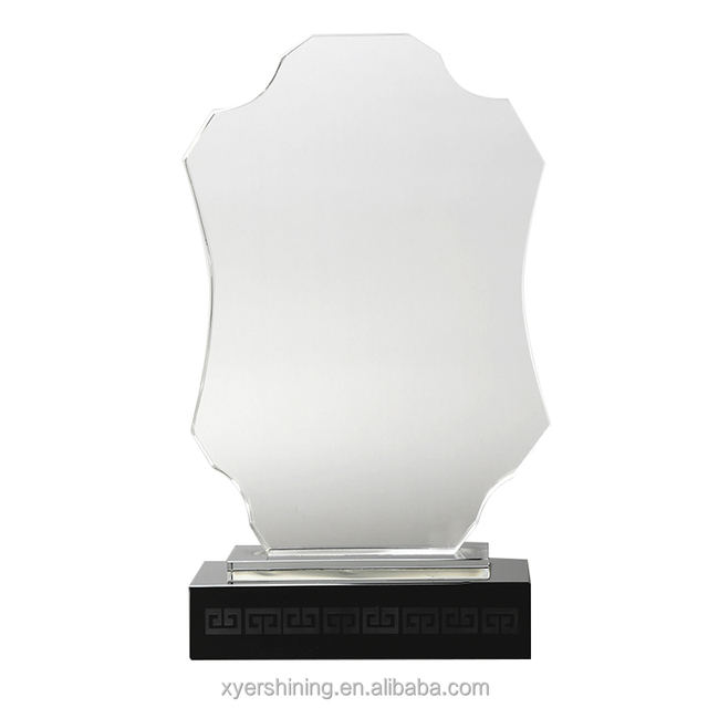 Hot sale blank crystal trophy award clear glass trophy plaques business souvenir gift