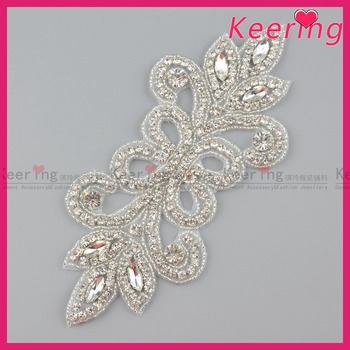 Silver Bridal Hollow out beaded wholesale rhinestone applique