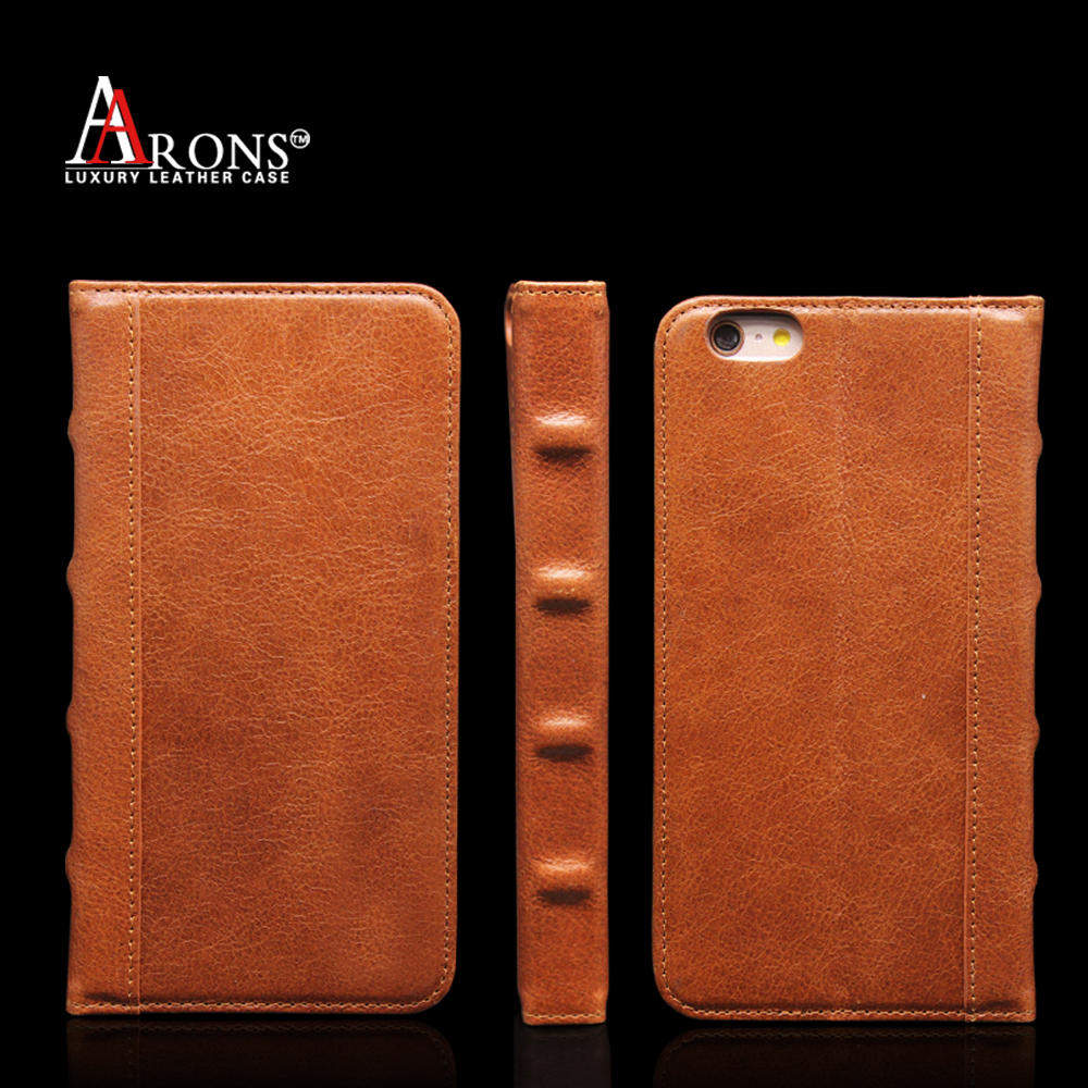 Standing Genuine Leather Wallet phone Case for Apple iPhone 6 Plus